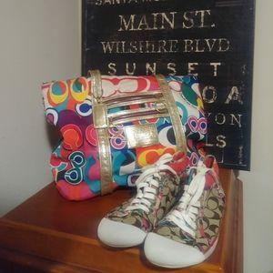 Coach handbag and sneakers 8.5